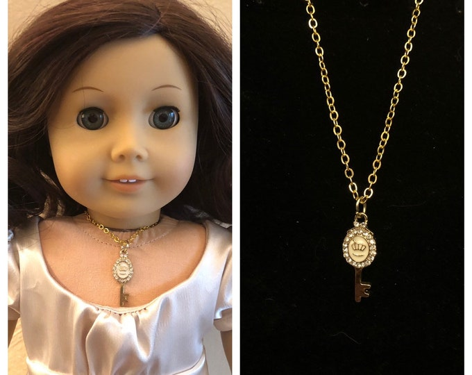 Gold Fancy Key Necklace for 18inch American Girl Dolls
