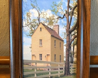 Framed Historical Farmhouse Dollhouse Canvas Art for American Girl Doll Houses
