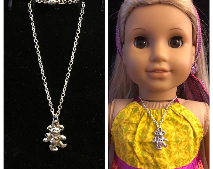 Silver Grateful Dead Bear Charm Necklace for 18 Inch American Girl Doll Jewelry