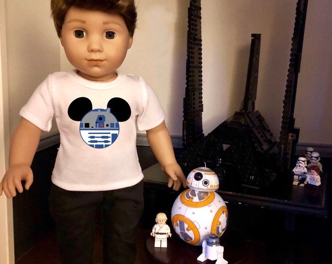 Mouse Ears Star Wars R2D2 Doll Tshirt for American Girl Doll Logan