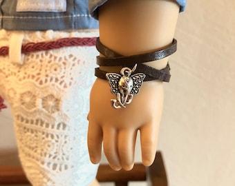 Leather Wrap Elephant Bracelet for American Girl Dolls