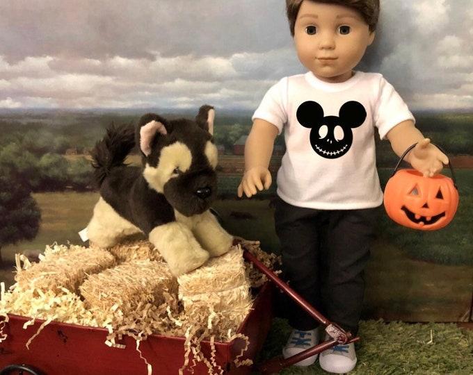 Halloween Mickey Skellington Tshirt for American Girl Logan