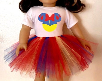 Snow White Mouse Ears Tshirt & Tutu for American Girl Dolls