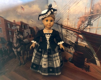 Black and White Colonial Dress & Hat for American Girl Elizabeth Custom Order