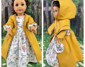 Claire Fraser Outlander Gold Dress with Cape & Accessories Options - Custom Order
