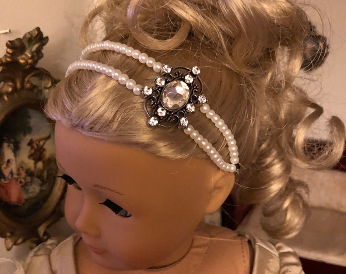 Pearl Double Strand Diamond Circlet  Headband for American Girl 18 inch Doll Jewelry