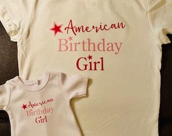 Girl & Doll Matching American Birthday Girl Shirts for American Girl Dolls
