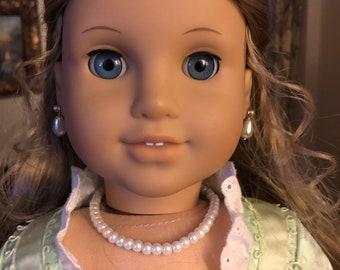 Pearl Necklace & Earring Dangles Set for 18 Inch American Girl Doll Elizabeth
