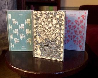 Jane Austens Trio doll sized mini book for American Girl Dolls - Sense and Sensibility, Emma & Pride and Prejudice