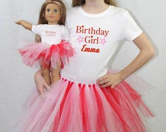 Custom Name Birthday Girl Matching Girl & Doll Tshirt and Tutu Sets