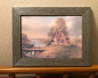 Framed Farmhouse Dollhouse Canvas Art for American Girl Doll Houses