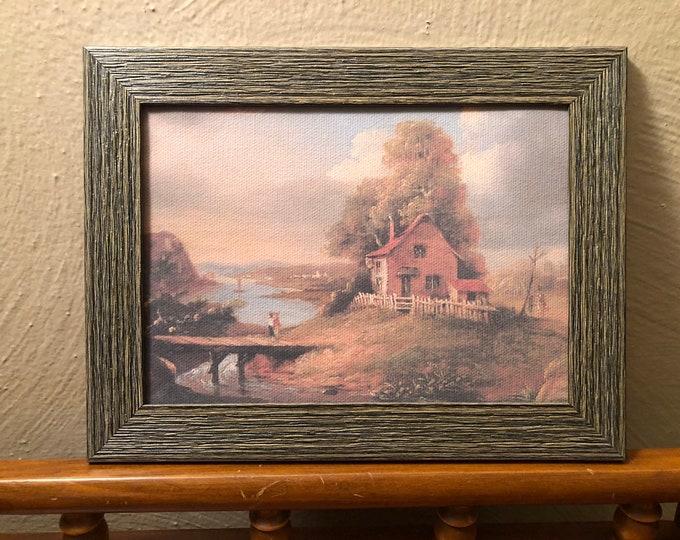 Framed Farmhouse Dollhouse Canvas Art for American Girl Doll Houses