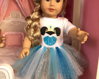 Elsa Mouse Ears Tshirt & Tutu for 18 Inch American Girl Dolls