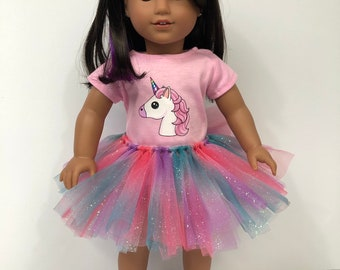 Unicorn Tshirt and Glitter Rainbow Tutu for 18 Inch American Girl Dolls