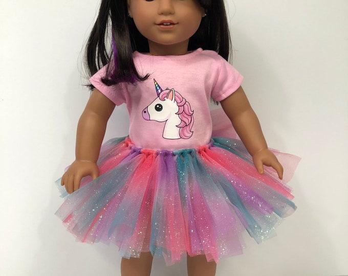 Unicorn Tshirt and Glitter Rainbow Tutu for 18 Inch American Girl Dolls