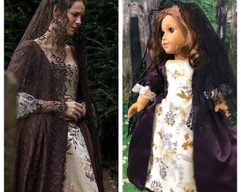 Custom Order: Outlander Inspired Claire Fraser's Mourning Gown for 18 Inch American Girl Dolls
