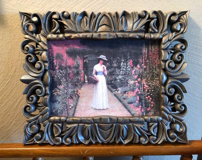 Framed Woman in a Garden Scene Dollhouse Canvas Art for American Girl Doll Houses