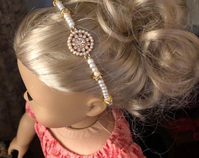Pearl Gold & Diamond Circlet Headband for American Girl 18 inch Doll Jewelry
