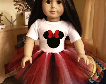 Mouse Ears Tshirt & Tutu for American Girl Dolls