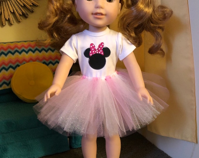 Minnie Mouse Pink Polka Dot Ears Tshirt & Tutu for Wellie Wishers