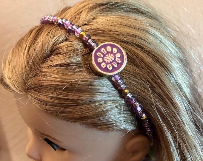 Purple Beaded Headband for American Girl 18 inch Dolls