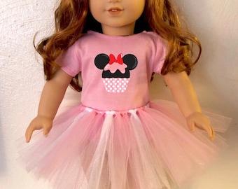 Cupcake Minnie Mouse Ears Tshirt & Tutu