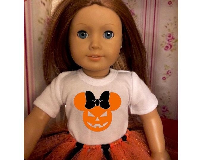 Mouse Ears Jack-O-Lantern Halloween Doll Tshirt for American Girl Dolls