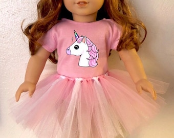 Unicorn Pink Tshirt & Tutu for American Girl Dolls