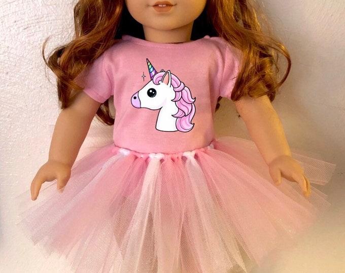 Unicorn Pink Tshirt & Tutu for American Girl Dolls