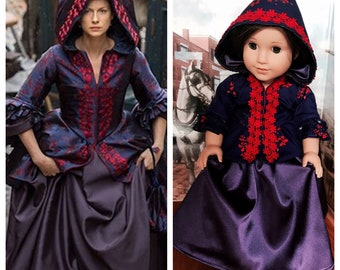 Outlander Inspired Claire Fraser Brunswick Jacket & Skirt for American Girl Dolls