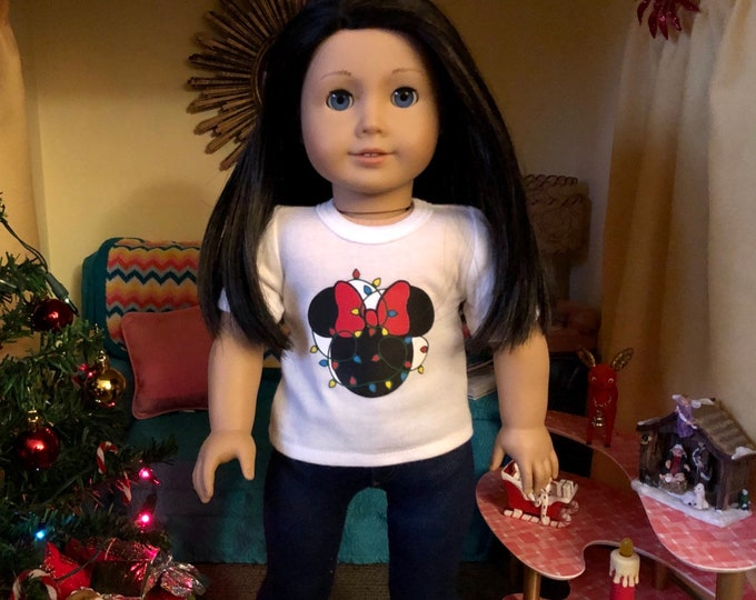 Christmas Lights Mouse Ears Tshirt for American Girl Dolls