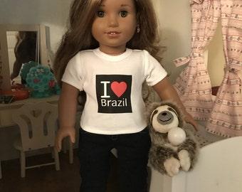 I Love Brazil Tshirt for American Girl Lea Clark
