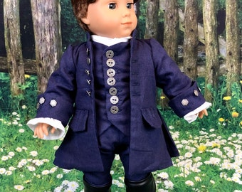 Custom Outlander Roger McKenzie Colonial Wedding Suit for 18 Inch American Girl Dolls
