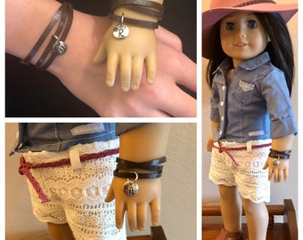 Leather Wrap Silver Initial Matching Bracelets for Girls & American Girl Dolls