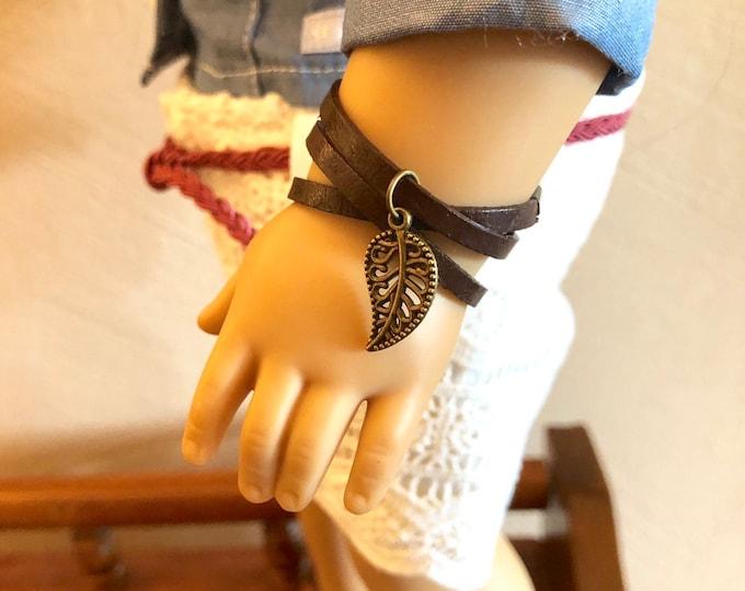 Leather Wrap Leaf Bracelet for American Girl Dolls