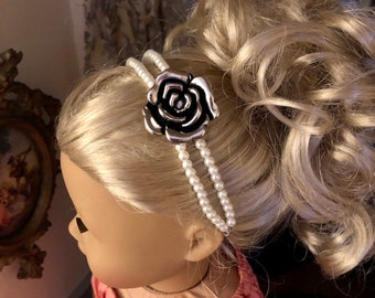 Pearl & Rose Pendant Headband for American Girl 18 inch Dolls