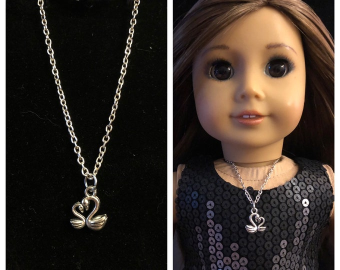 Silver Love Swans Charm Necklace for 18 inch Dolls American Girl Doll Jewelry