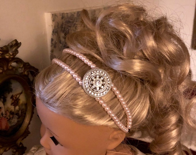 Pink Pearl Double Strand Circlet Headband for American Girl 18 inch Doll Jewelry