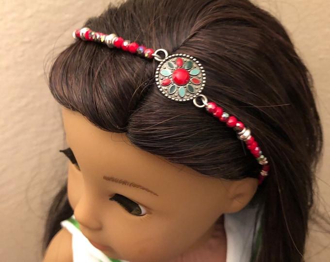 Red Beaded Headband for American Girl 18 inch Dolls