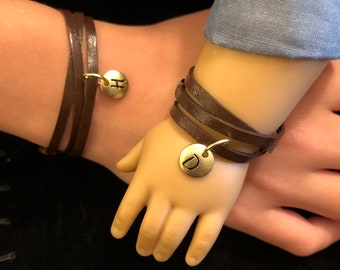 Leather Wrap Gold Initial Matching Bracelets for Girls & American Girl Dolls
