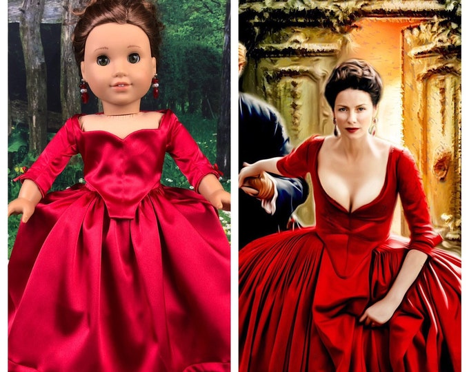 Custom Outlander Claire Fraser 18 Inch Special Edition Red Doll Dress