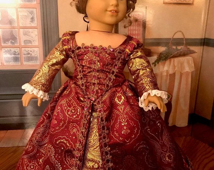 Tudor Era Elizabethan Gown for 18 Inch American Girl Dolls