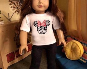 Character Minnie Mouse Ears Doll Tshirt for American Girl Dolls