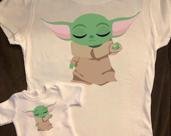 Girl & Doll Matching Baby Yoda The Force The Child Mandalorian Tshirts