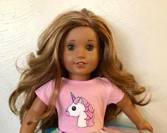 Unicorn Pink Tshirt for American Girl Dolls