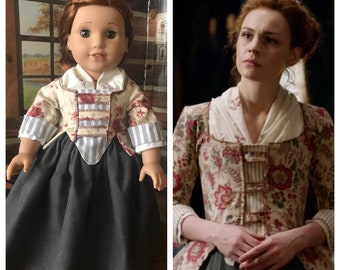 Custom Order: Outlander inspired Brianna Randall Fraser Mackenzie jacket and petticoat for 18 inch American Girl Dolls