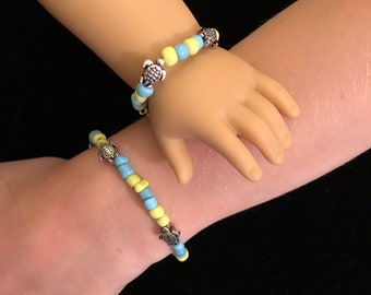 Turtle Girl & Doll Matching Bracelets for American Girl 18 inch Dolls