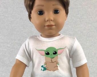 Baby Yoda Frog The Child Mandalorian Tshirt for American Girl Logan
