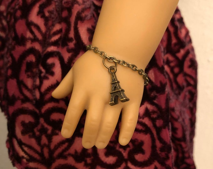 Eiffel Tower Charm Antique Gold Bracelet for American Girl 18 inch Doll