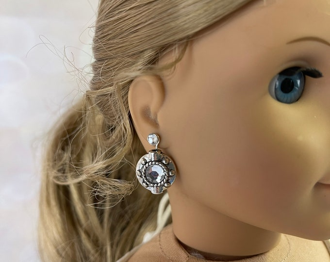 Silver & Diamond Round Earring Dangles for 18 inch American Girl Dolls (Dangles Only)